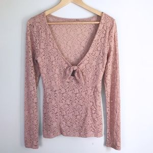 Free People Lace Sheer Tie Front Mauve Top